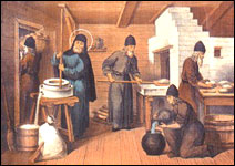 St. Sergius' labors with his monks.