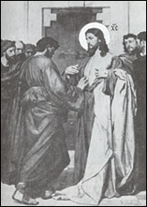 Apostle Thomas tests the Lord's wounds