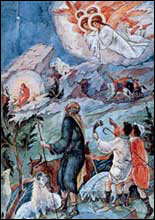The angels glorify the Infant-Christ.
