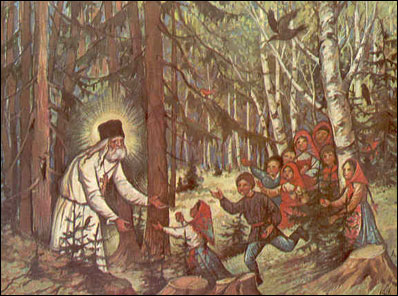 St. Seraphim lovingly greets the children